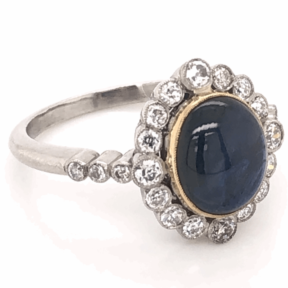 Image 2 for Platinum Art Deco 3.59ct Deep Blue Star Sapphire & .60tcw Diamond Ring 6.4g, s7