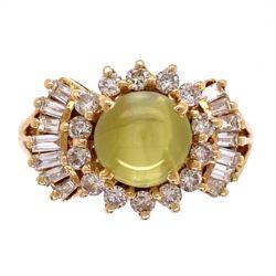 Closeup photo of 18K Yellow Gold 1970's 2.40ct Cat's Eye Chrysoberyl & .75tcw Diamond Ring 6.1g