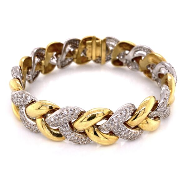 "Closeup photo of 18K White & Yellow Gold Diamond Link Bracelet 500 Round Brilliant Diamonds are 8.50tcw 65.6g, 7"" long"