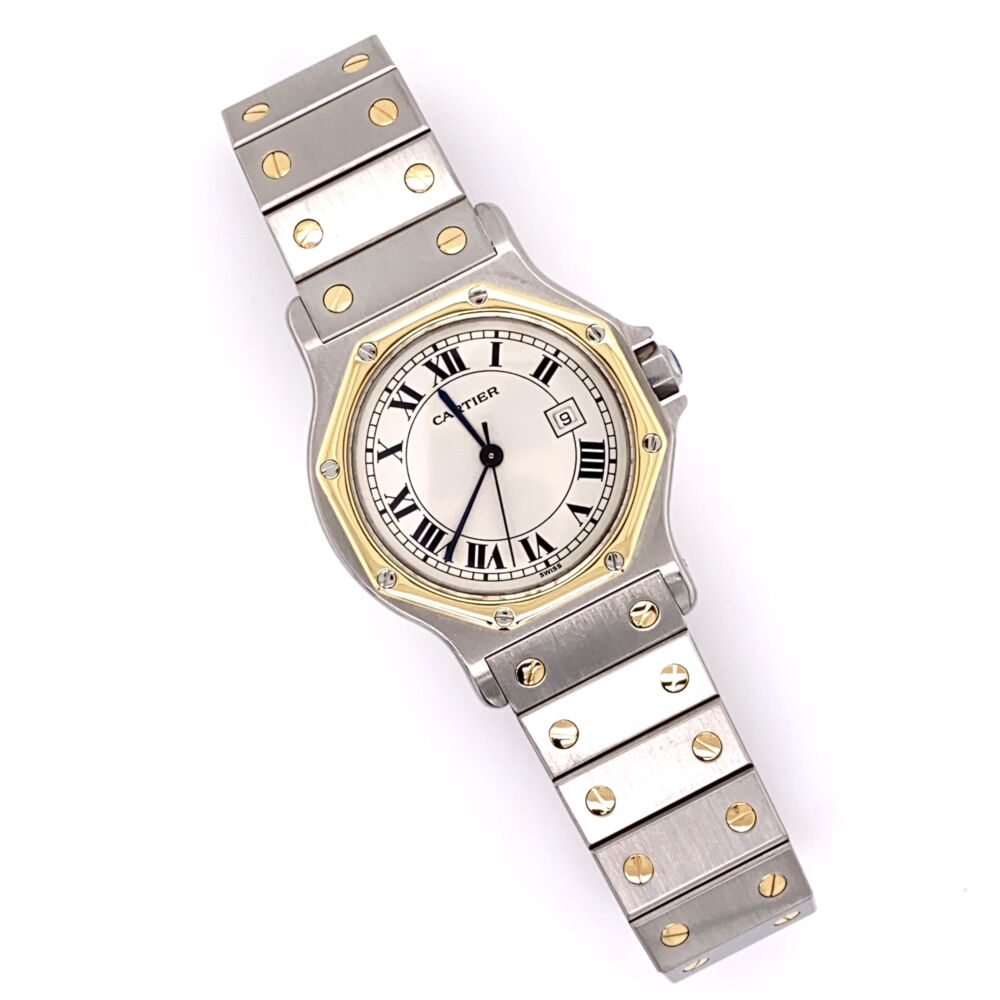 CARTIER SANTOS Octogan Stainless Steel & 18K Yellow Gold 2966 30mm 296632749