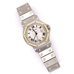 Closeup photo of CARTIER SANTOS Octagon Stainless Steel & 18K Yellow Gold 2966 30mm 296632749