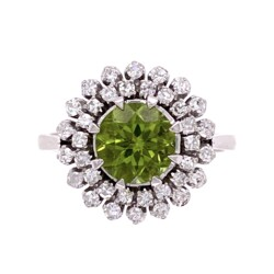 Closeup photo of 18K White Gold 1950's 1.25ct Peridot with Double Halo .55tcw Diamond 8 prong Ring 5.9g, s7