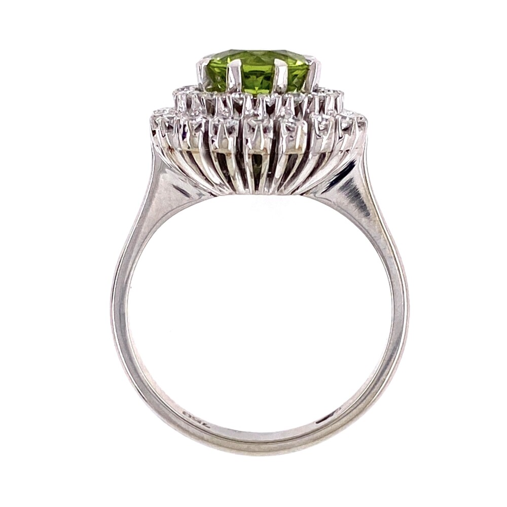 Image 2 for 18K White Gold 1950's 1.25ct Peridot with Double Halo .55tcw Diamond 8 prong Ring 5.9g, s7