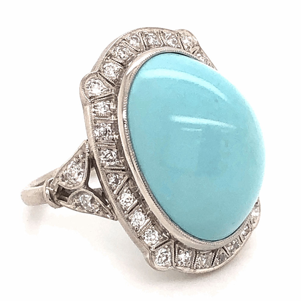 Image 2 for Platinum Art Deco 23ct Persian Turquoise cabochon & .82tcw Diamond ring, 14.1g, s8