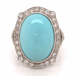 Platinum Art Deco 23ct Persian Turquoise cabochon & .82tcw Diamond ring, 14.1g, s8