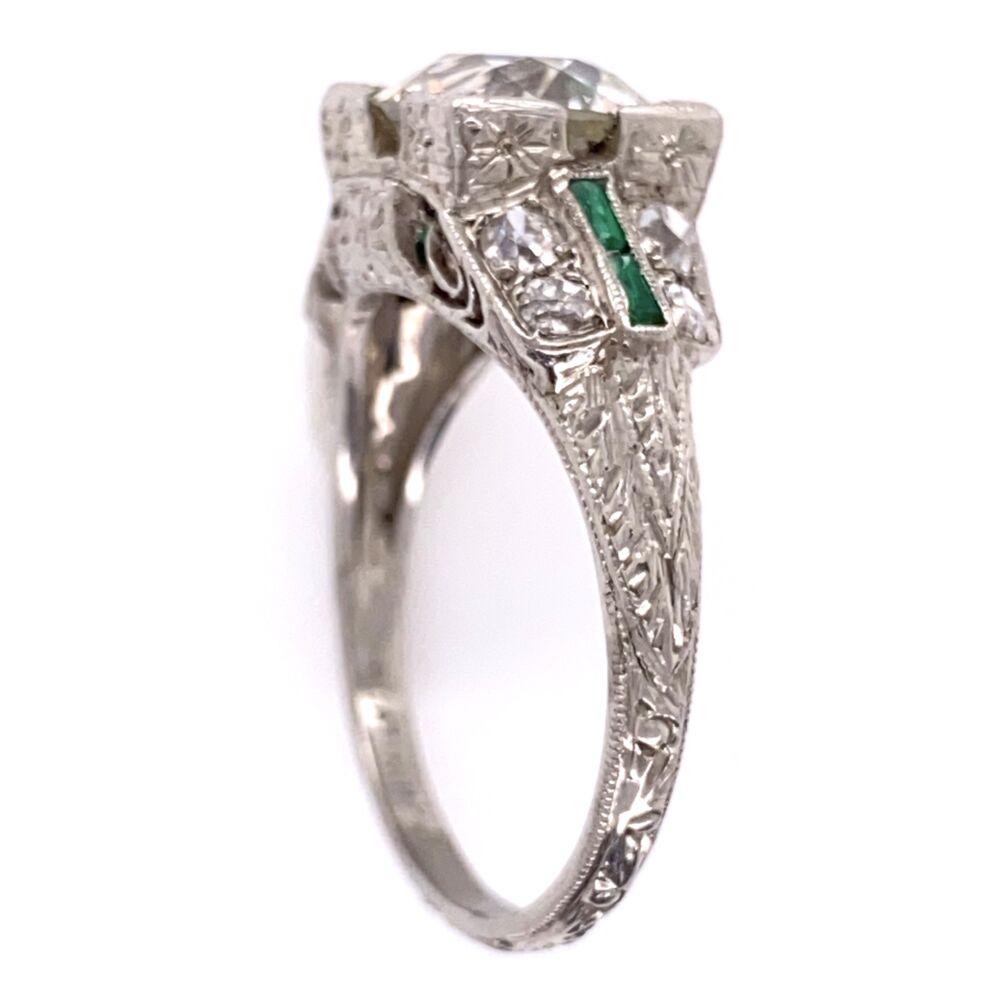 Image 2 for Platinum Art Deco 2.10ct OEC Diamond Ring, .36tcw side diamond, Emeralds, 4.8g, s6.5