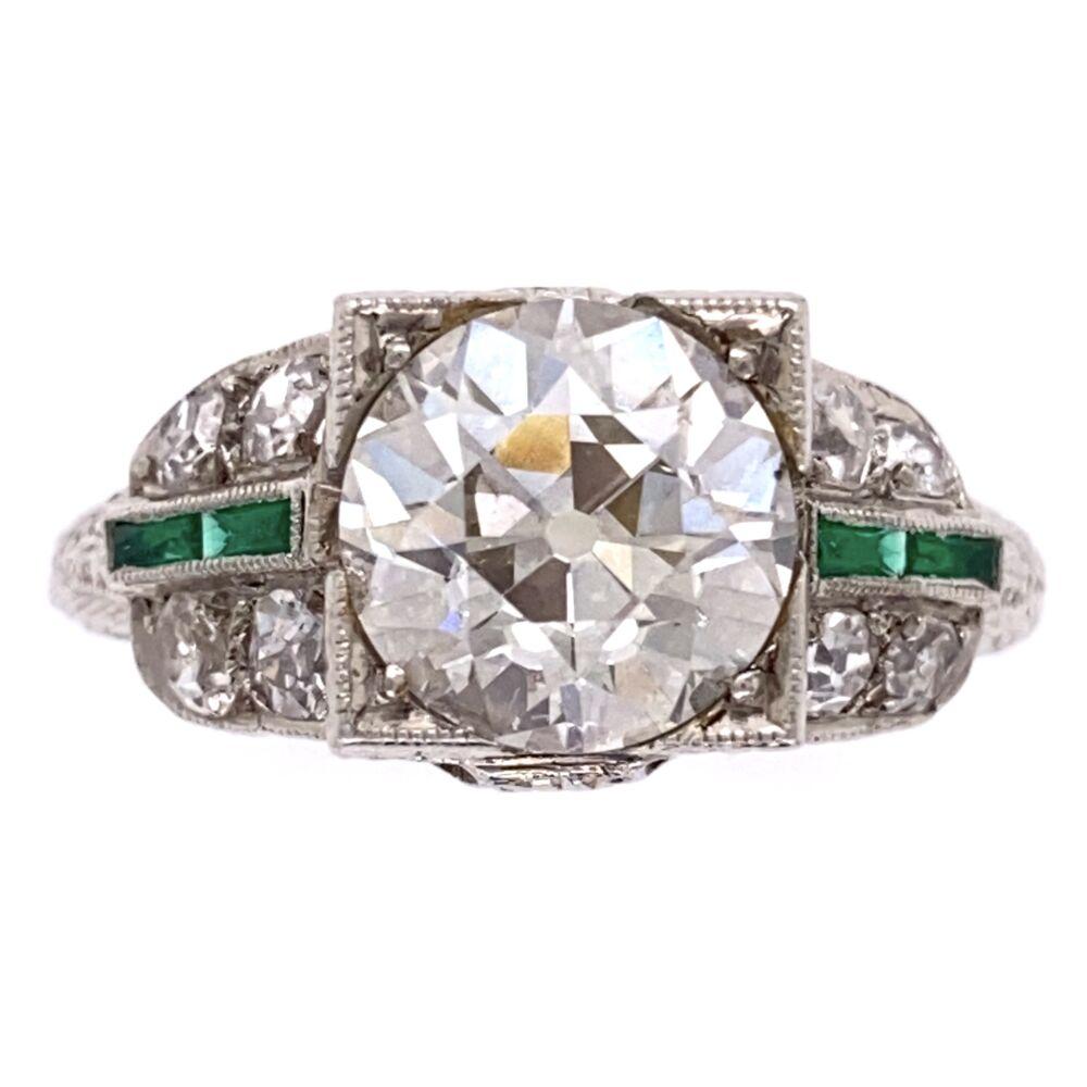 Platinum Art Deco 2.10ct OEC Diamond Ring, .36tcw side diamond, Emeralds, 4.8g, s6.5