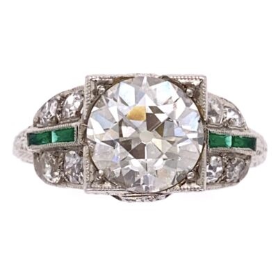 Closeup photo of Platinum Art Deco 2.10ct OEC Diamond Ring, .36tcw side diamond, Emeralds, 4.8g, s6.5