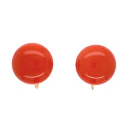 Closeup photo of 14K Yellow Gold 16mm Button Coral Earrings c1940 8.1g