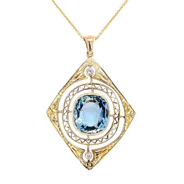 "Closeup photo of 14K Yellow Gold Arts & Crafts 10ct Aquamarine Pendant with .12tcw Diamonds 6.8g, 16"" Chain"