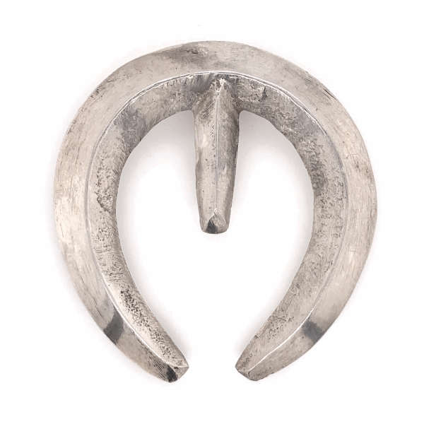 "Closeup photo of 925 Sterling Vintage Native Sand Cast Hanging Horse Shoe 25.1g, 2"" Tall"