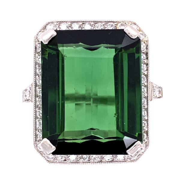 Closeup photo of Platinum 1950's 13.65ct Forest Green Emerald Cut Tourmaline & .64tcw Diamond Ring, s7