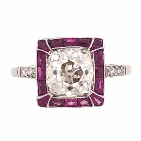 Closeup photo of Platinum Art Deco 2.27ct Antique Cushion Diamond & French Cut Ruby Ring, s8