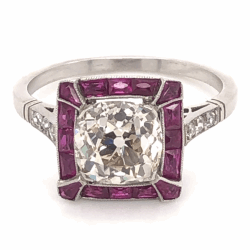 Platinum Art Deco 2.27ct Antique Cushion Diamond & French Cut Ruby Ring, s8