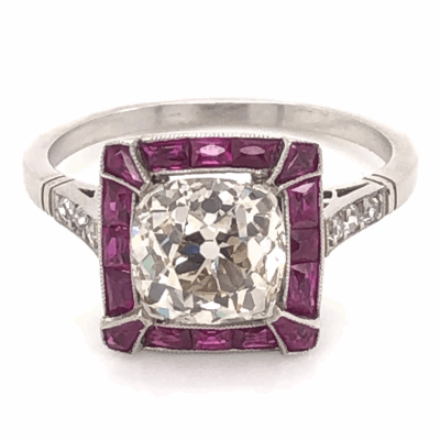 Closeup photo of Platinum Art Deco 2.27ct Antique Cushion Diamond & French Cut Ruby Ring, s8