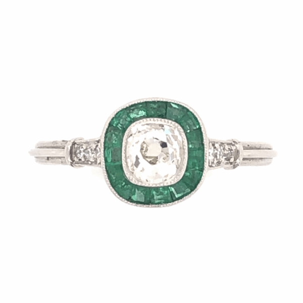 Closeup photo of Platinum Art Deco .39ct Old Mine Diamond, .38tcw Emeralds & .08tcw side diamond Ring, s7