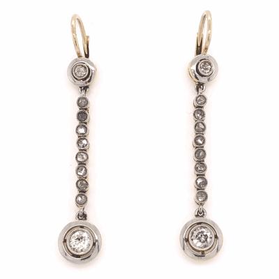 "Closeup photo of Platinum on 18K Yellow Gold Edwardian .82tcw Diamond Earrings 1.50"" Long"