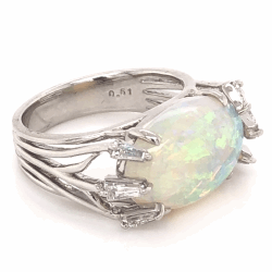 Platinum 5.00ct Australian Opal & .51tcw Diamond Ring c1970, s6.5