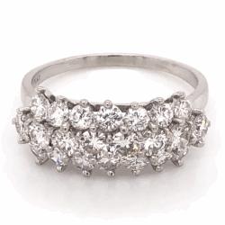 Closeup photo of Platinum 3 row 2.35tcw Diamond Band Ring c1960, s8.5