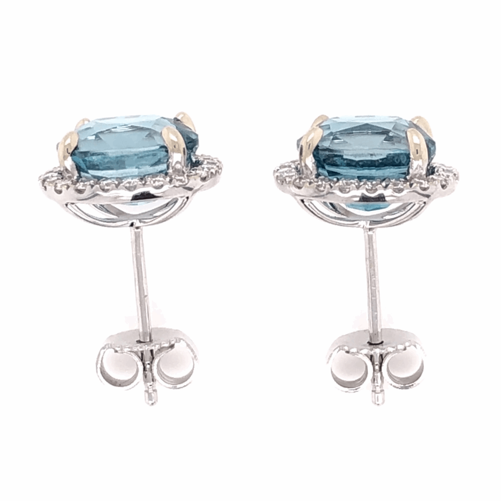 Image 2 for 14K White Gold 7.45tcw Blue Zircon Stud Earrings with .39tcw Diamonds