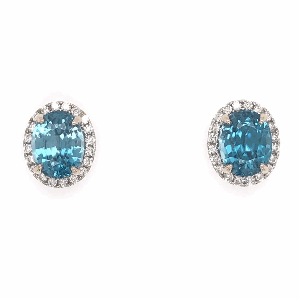 14K White Gold 7.45tcw Blue Zircon Stud Earrings with .39tcw Diamonds