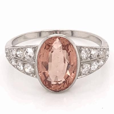 Closeup photo of Platinum Art Deco 3.00ct Oval Imperial Topaz & .48tcw Diamond Ring, s6