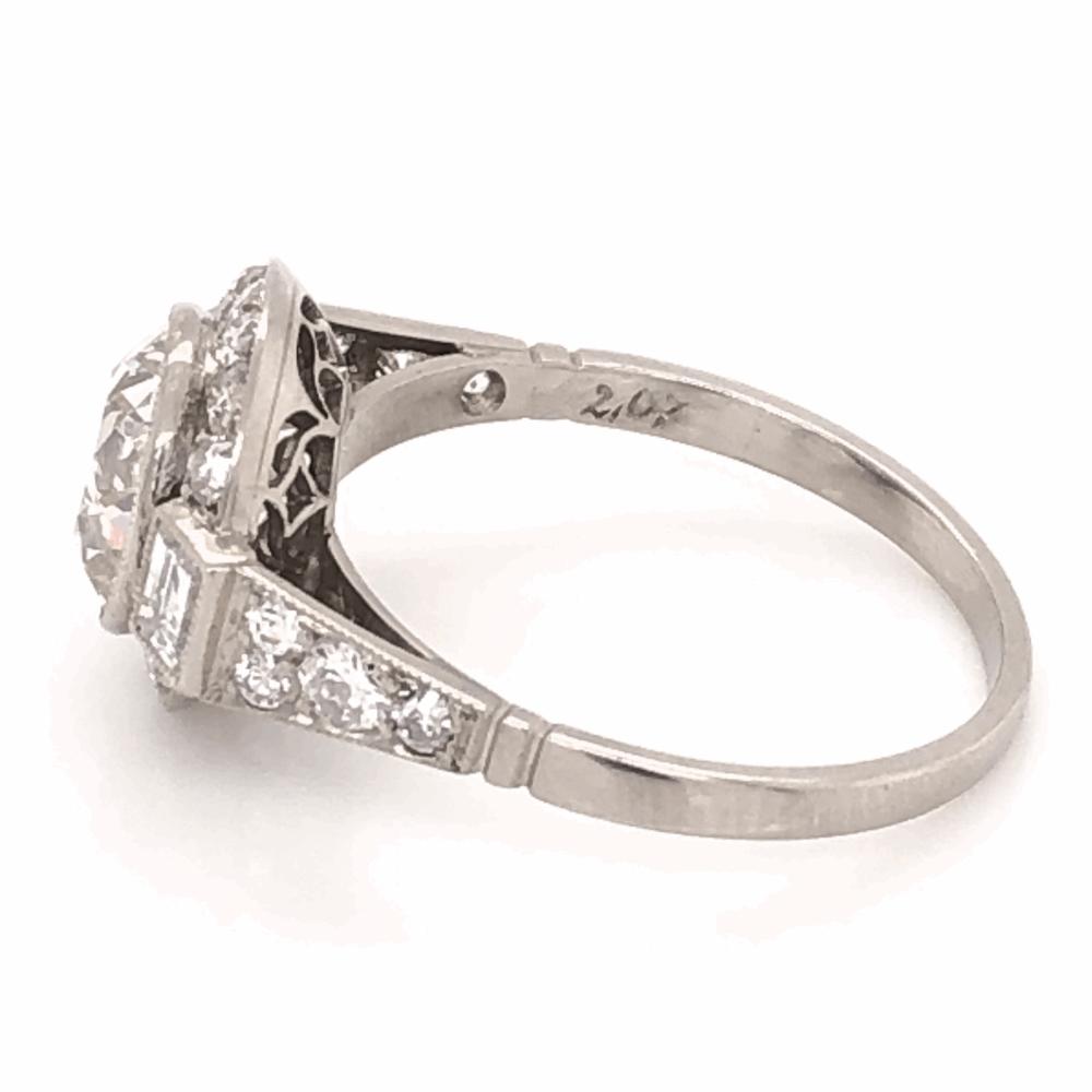 Image 2 for Platinum Art Deco 2.07ct Old European Cut Diamond & .78tcw side diamond Ring, s7