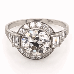 Platinum Art Deco 2.07ct Old European Cut Diamond & .78tcw side diamond Ring, s7