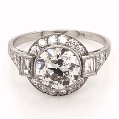 Closeup photo of Platinum Art Deco 2.07ct Old European Cut Diamond & .78tcw side diamond Ring, s7