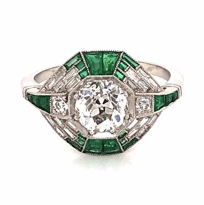 Closeup photo of Platinum Art Deco 1.09ct Old European Cut Diamond, .88tcw Emeralds & .60tcw side diamond Ring, s7