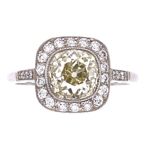 Closeup photo of Platinum Art Deco 2.07ct Old Mine Diamond with .36tcw side diamond Ring, s6.5