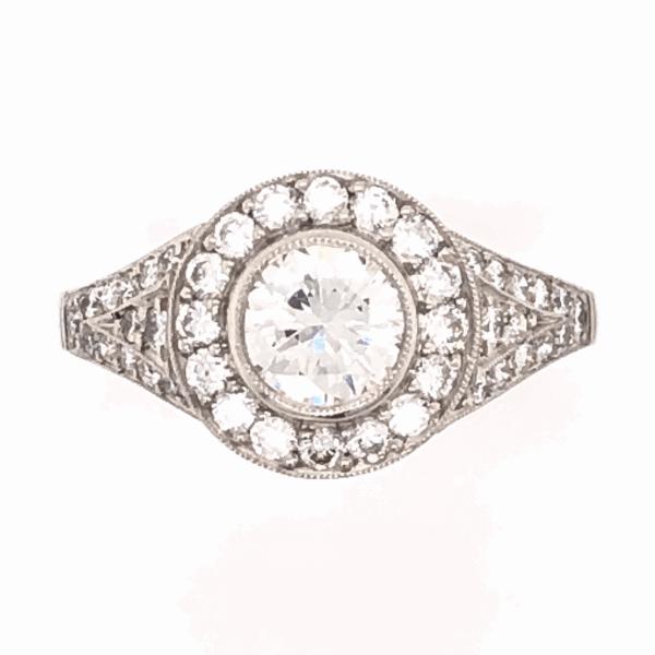 Closeup photo of Platinum .60ct Round Diamond & .78tcw side Diamond Ring, s6