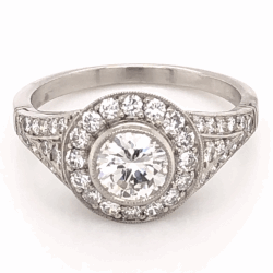 Platinum .60ct Round Diamond & .78tcw side Diamond Ring, s6