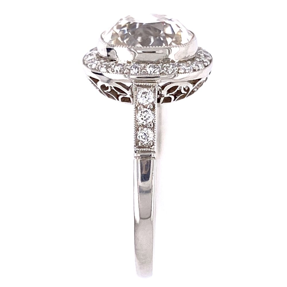 Image 2 for Platinum Art Deco 2.76ct Old Mine Diamond & .60tcw side diamond Ring, s7