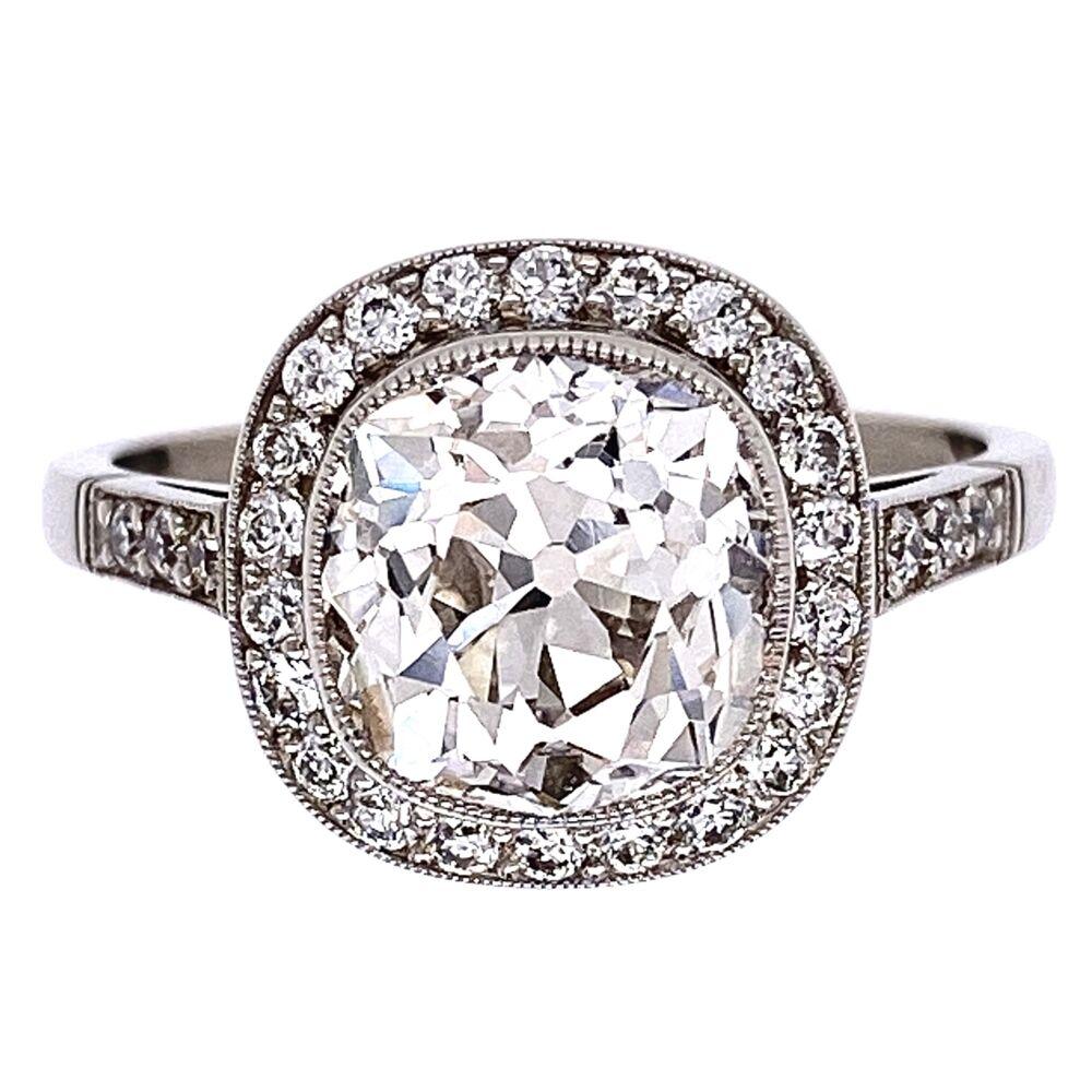 Platinum Art Deco 2.76ct Old Mine Diamond & .60tcw side diamond Ring, s7