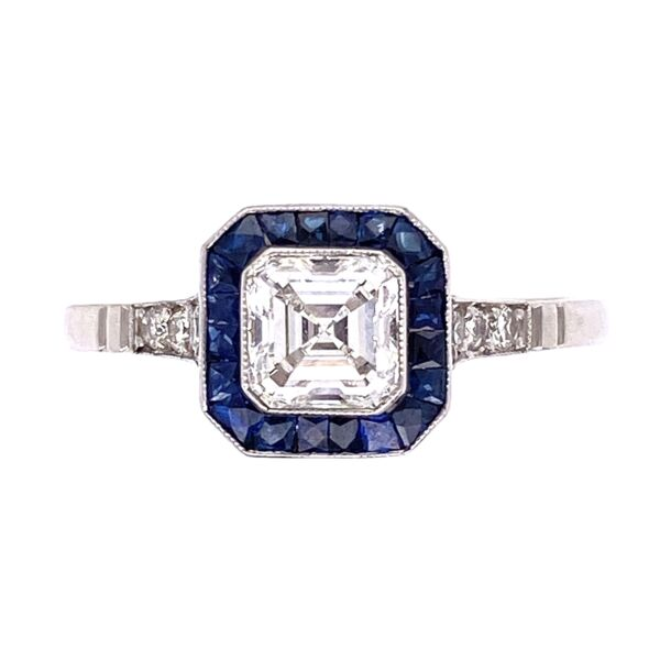 Closeup photo of Platinum Art Deco .66ct Asscher Diamond, .46tcw Sapphires & .09tcw side diamond Ring