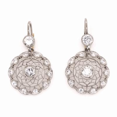 Closeup photo of Platinum on 18K Yellow Edwardian Lace Diamond Earrings
