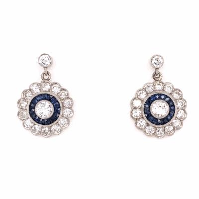 Closeup photo of Platinum Art Deco 1.64tcw Diamond & .68tcw Sapphire Round Earrings