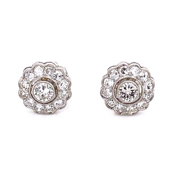 Closeup photo of Platinum Art Deco Stud Diamond Cluster Earrings 1.24tcw