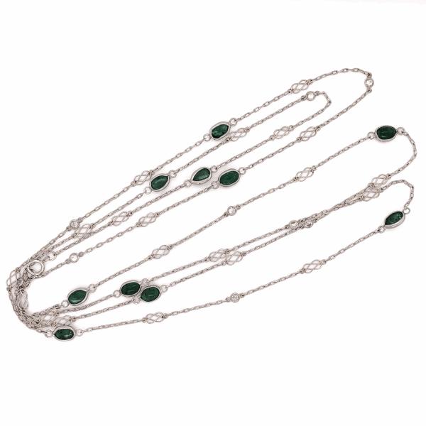 "Closeup photo of Platinum Handmade 3.87tcw Oval Emerald & .63tcw Diamond Chain 40"" Long"
