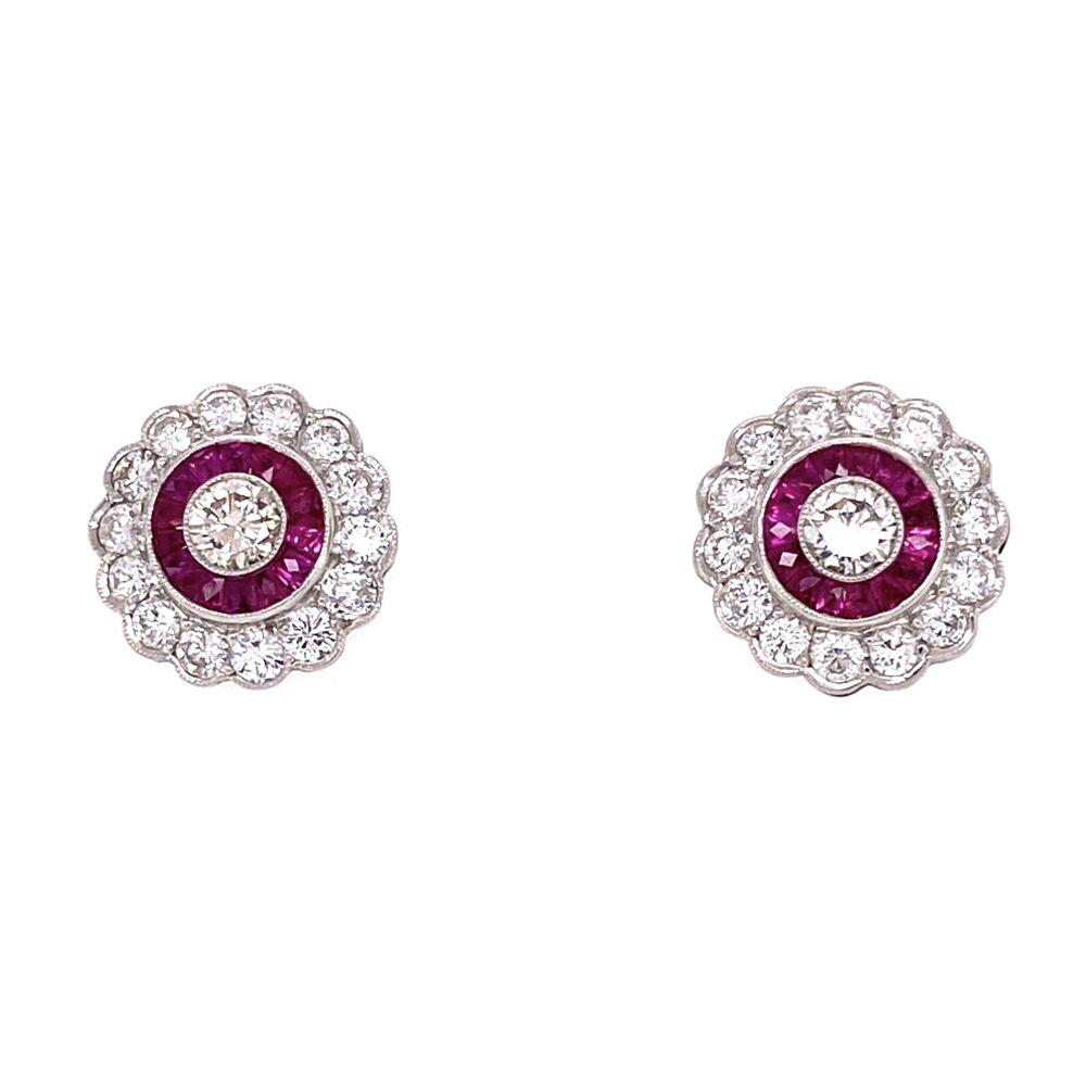 Platinum Art Deco 1.56tcw Diamond & 1.10tcw Ruby Cluster StudEarrings