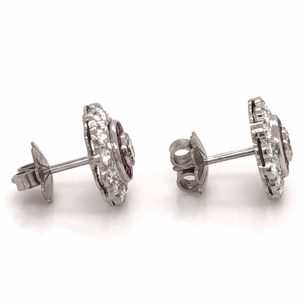 Image 2 for Platinum Art Deco 1.56tcw Diamond & 1.10tcw Ruby Cluster StudEarrings