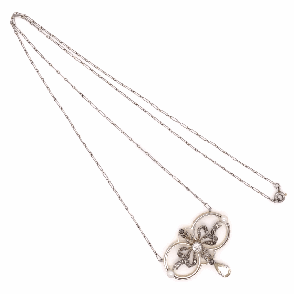 """Platinum on 18K Yellow Gold Edwardian Necklace with Pearls & .70tcw Diamonds, 18"""" Long Chain"""