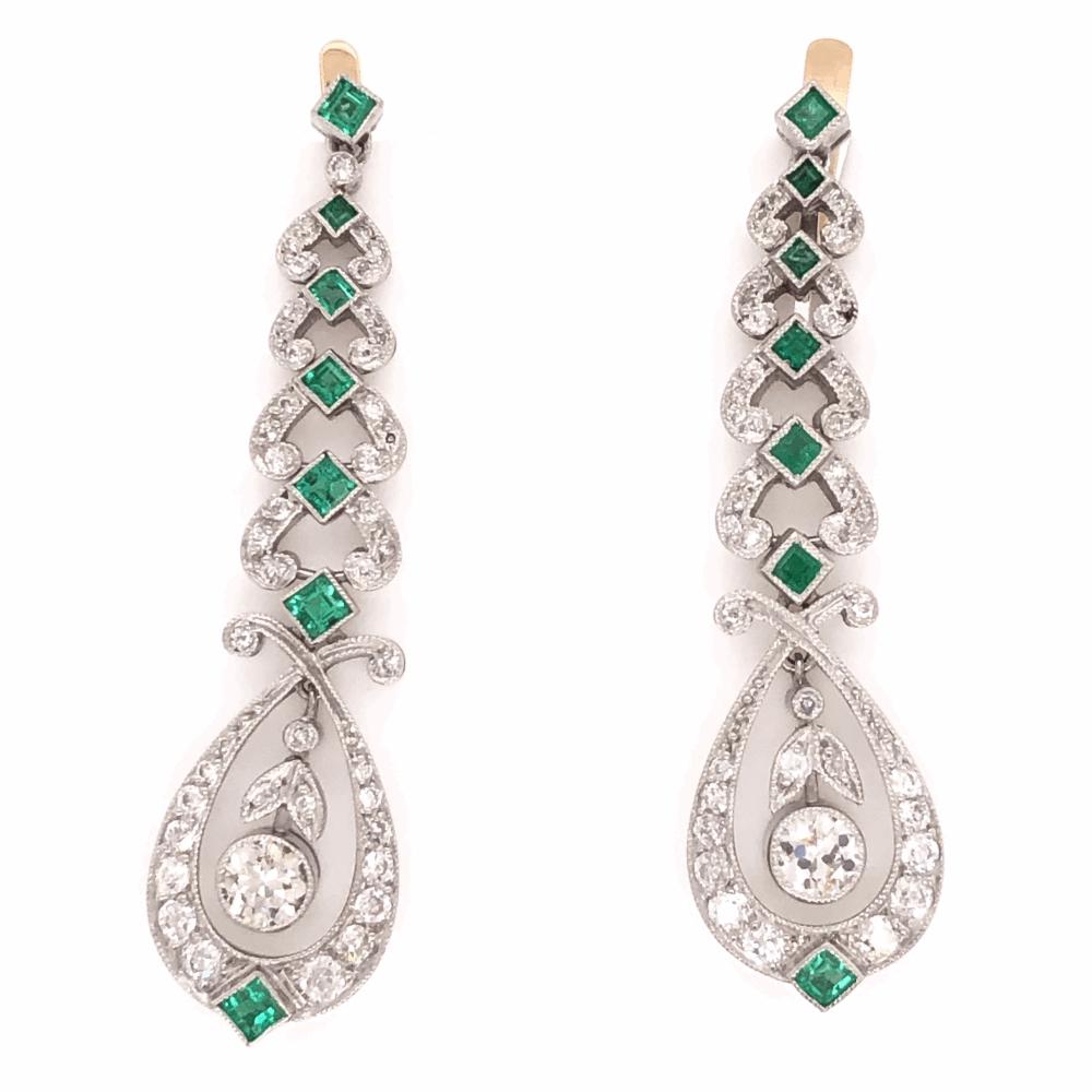 "Platinum Art Deco Drop 1.60tcw Diamond & 1.10tcw Emerald Drops Earrings 1.75"" Tall"