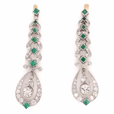 "Closeup photo of Platinum Art Deco Drop 1.60tcw Diamond & 1.10tcw Emerald Drops Earrings 1.75"" Tall"