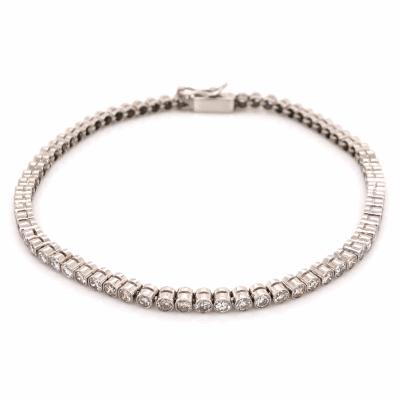 """Closeup photo of Platinum Art Deco Bezel Set Line Bracelet 2.25tcw, 7"""" Long"""