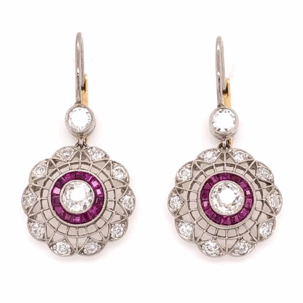 "Closeup photo of Platinum on 18K Yellow Gold Edwardian 1.46tcw diamond & .58tcw Ruby Cluster Drop Earrings 1"" Tall"