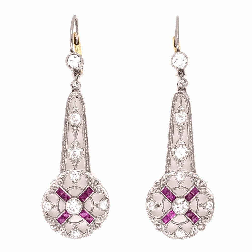 "Platinum Art Deco 1.15tcw Diamond & .75tcw Ruby Drop Earrings, 1.75"" Tall"