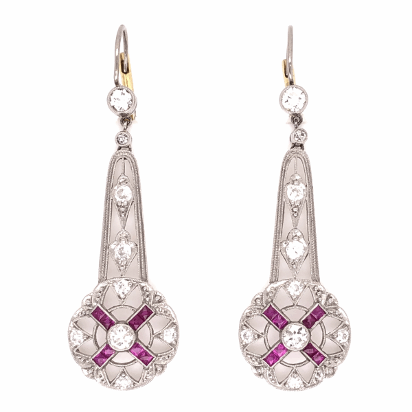 "Closeup photo of Platinum Art Deco 1.15tcw Diamond & .75tcw Ruby Drop Earrings, 1.75"" Tall"