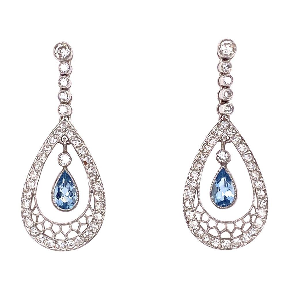 Platinum Art Deco .60tcw Pear Aquamarine & 1.50tcw Diamond Earrings